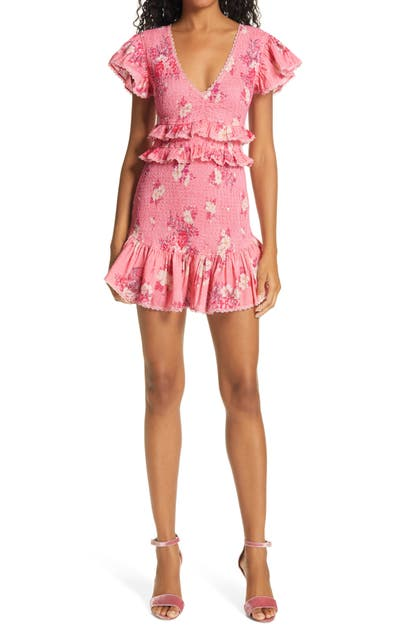 Loveshackfancy SONORA FLORAL RUFFLE SMOCKED COTTON DRESS