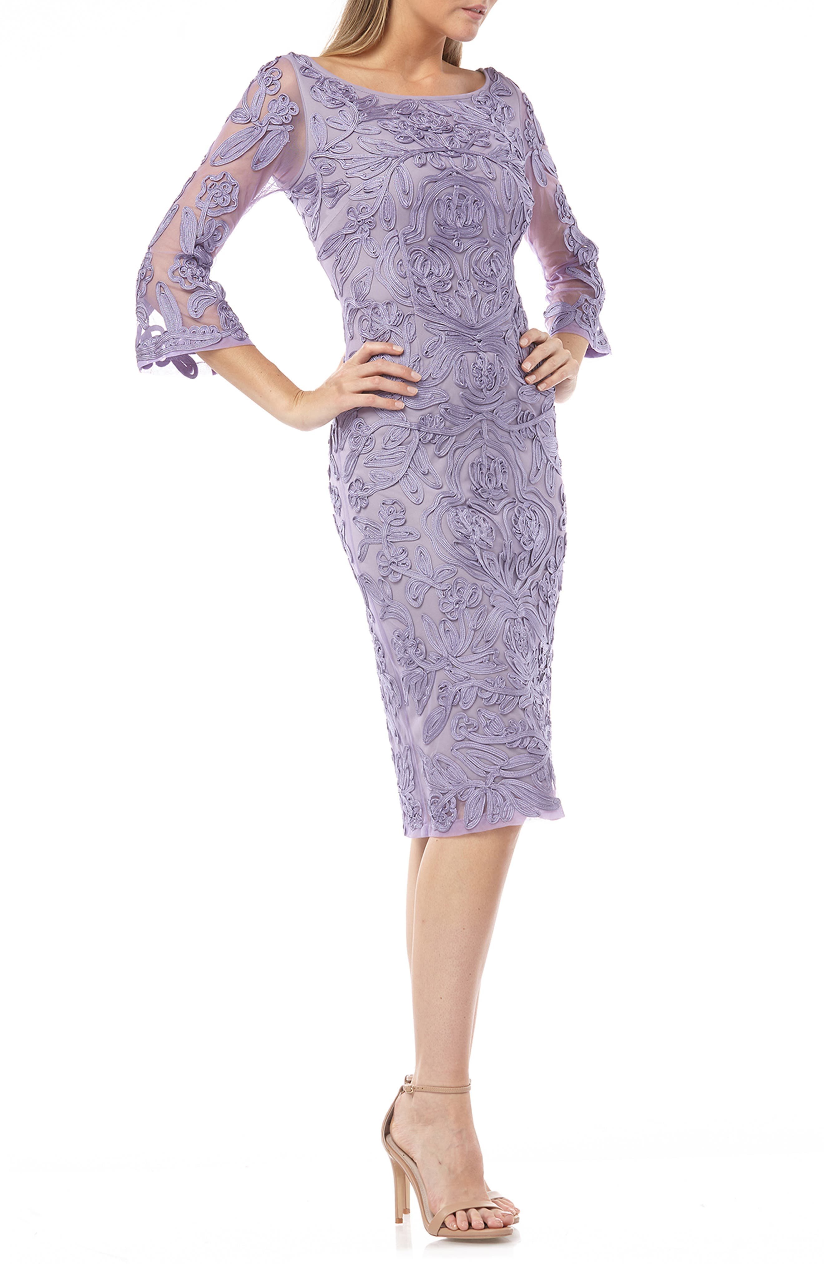 Js Collections Soutache Chiffon Sheath Dress, Purple