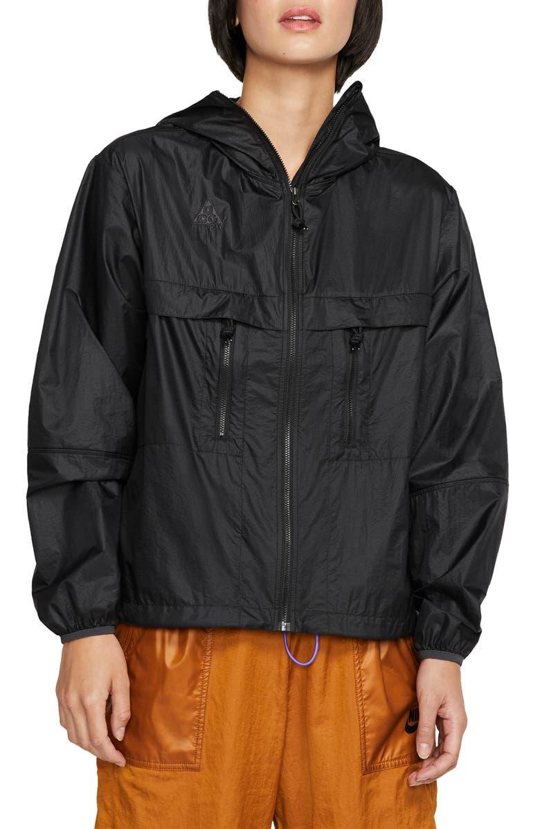 NIKE AGC Packable Hooded Jacket, Main, color, BLACK