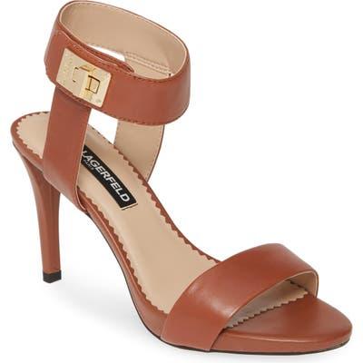 Karl Lagerfeld Paris Olivia Ankle Strap Sandal, Brown