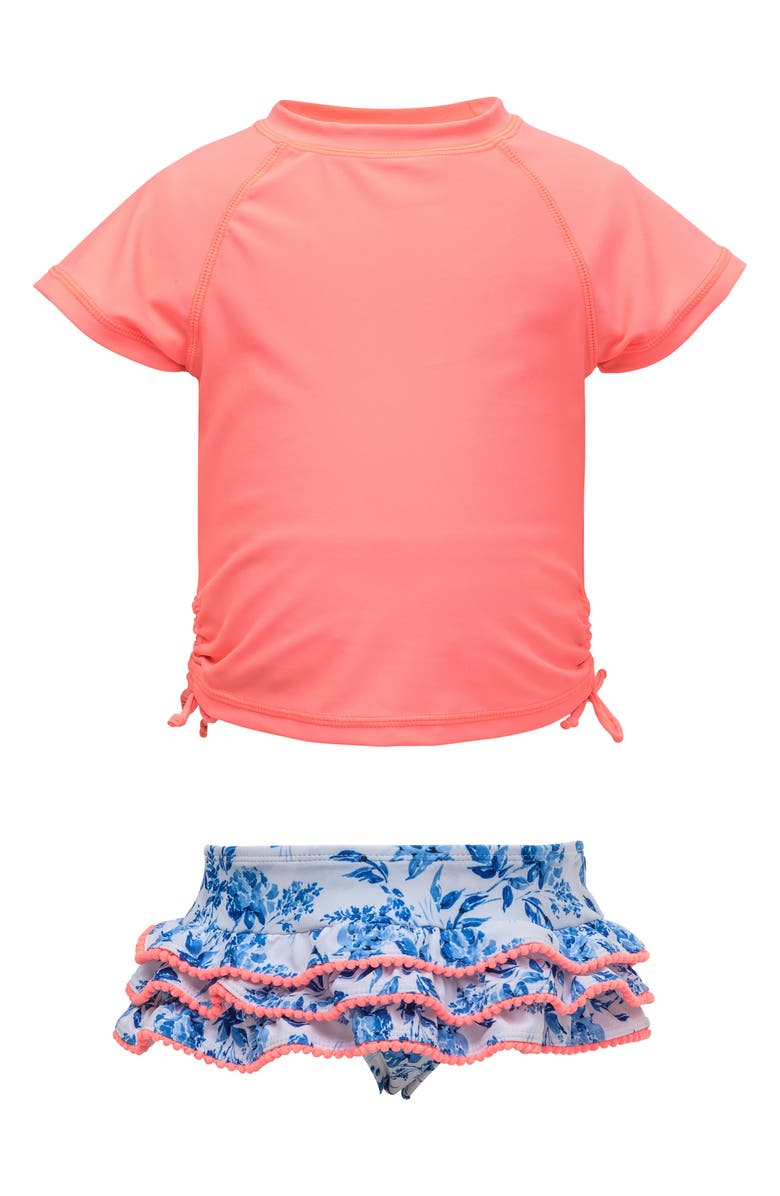 SNAPPER ROCK Cottage Floral Short Sleeve Ruffle Swimsuit, Main, color, COTTAGE FLORAL NEON CORAL