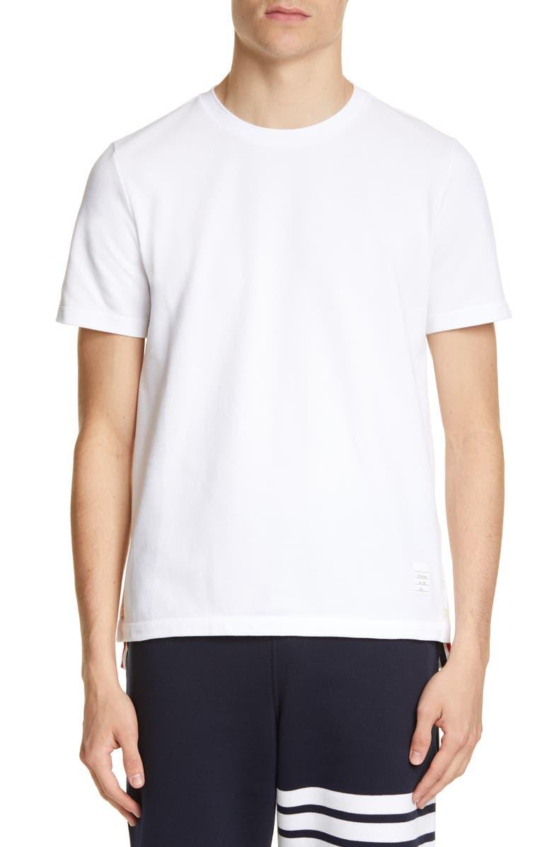 THOM BROWNE Stripe Crewneck T-Shirt, Main, color, WHITE