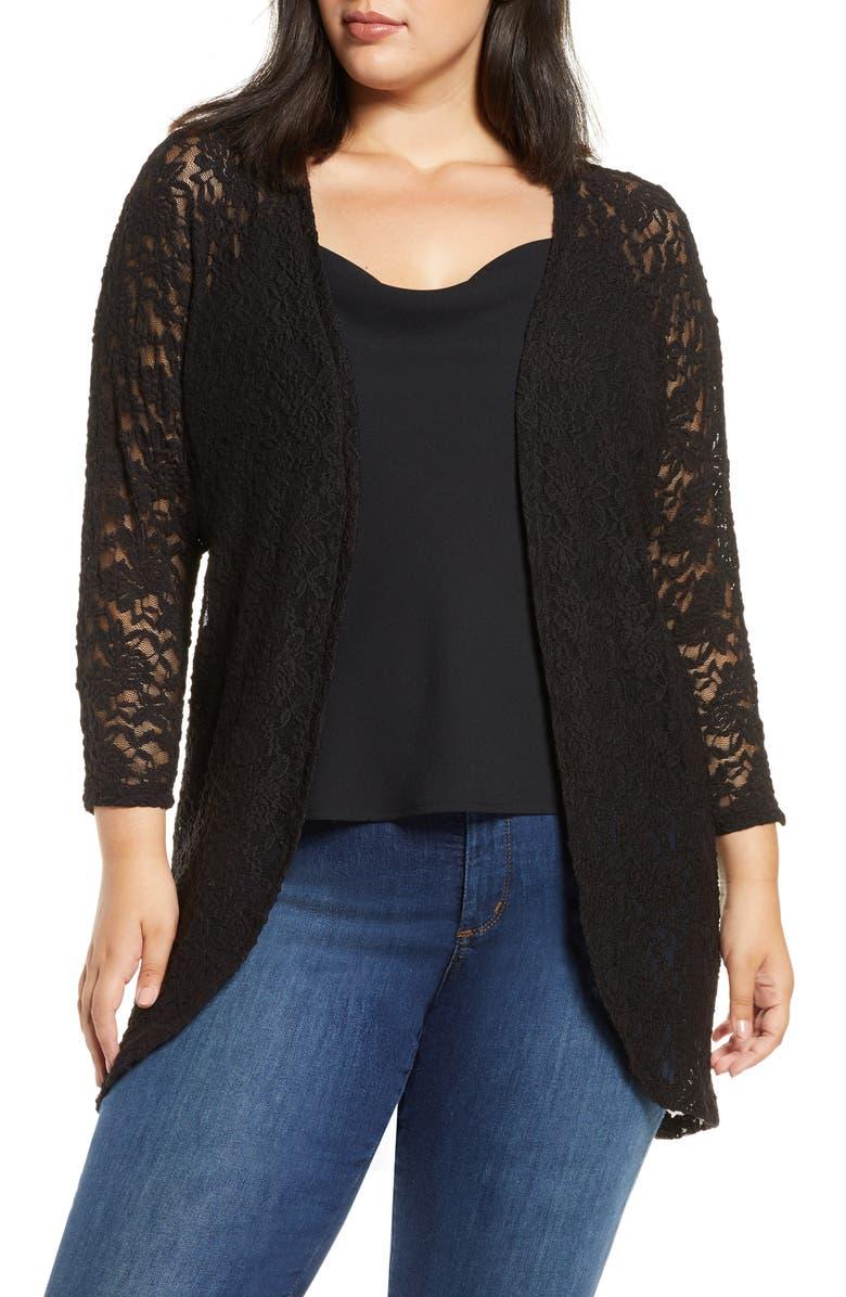 DANTELLE Dolman Sleeve Lace Cardigan, Main, color, BLACK