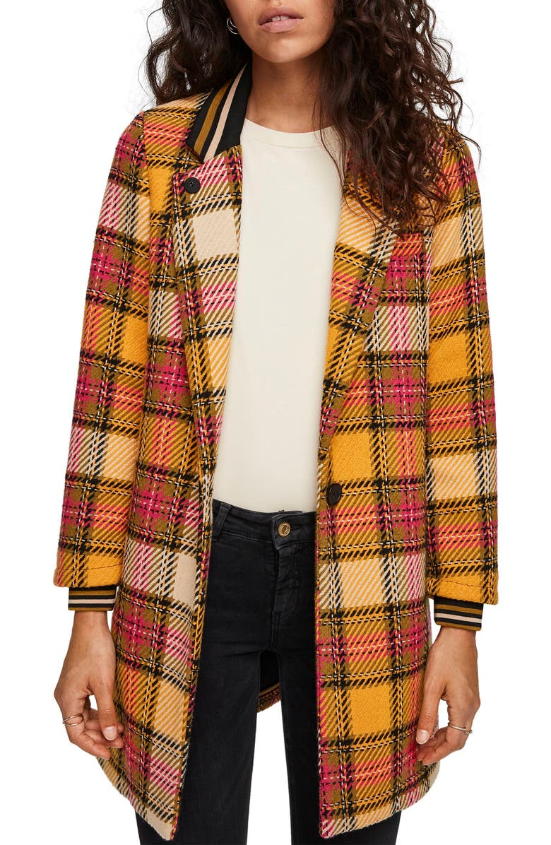 SCOTCH & SODA Plaid Bonded Wool Blend Jacket, Main, color, COMBO G
