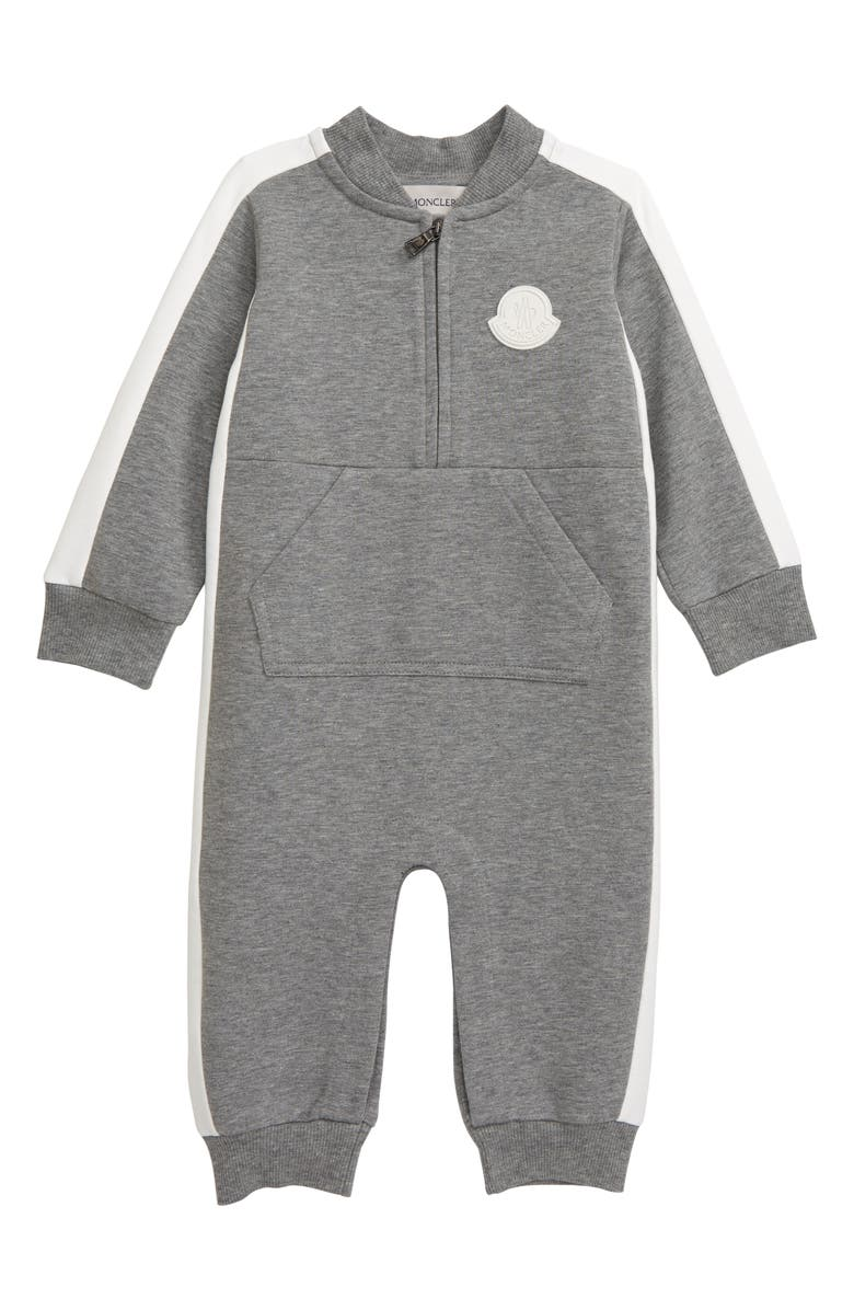 MONCLER Pagliaccetto Zip Fleece Romper, Main, color, GREY