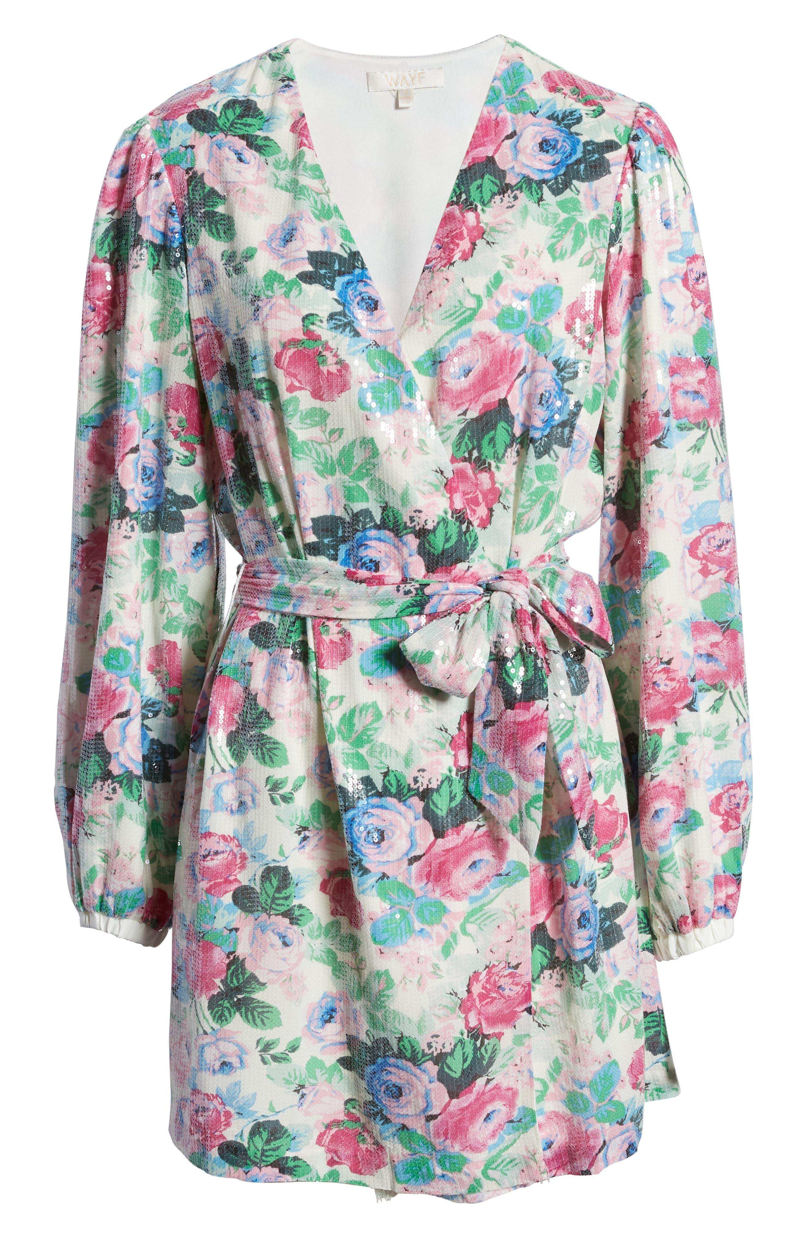 WAYF Loretta Floral Sequin Long Sleeve Wrap Dress