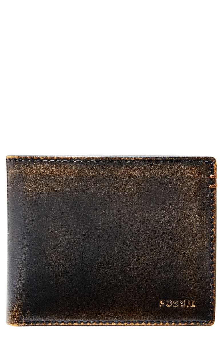 FOSSIL Wade Leather Wallet, Main, color, 001