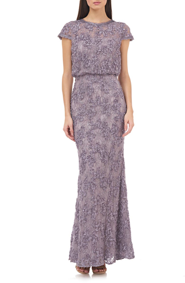 JS COLLECTIONS Blouson Lace Gown, Main, color, DUSTY LILAC