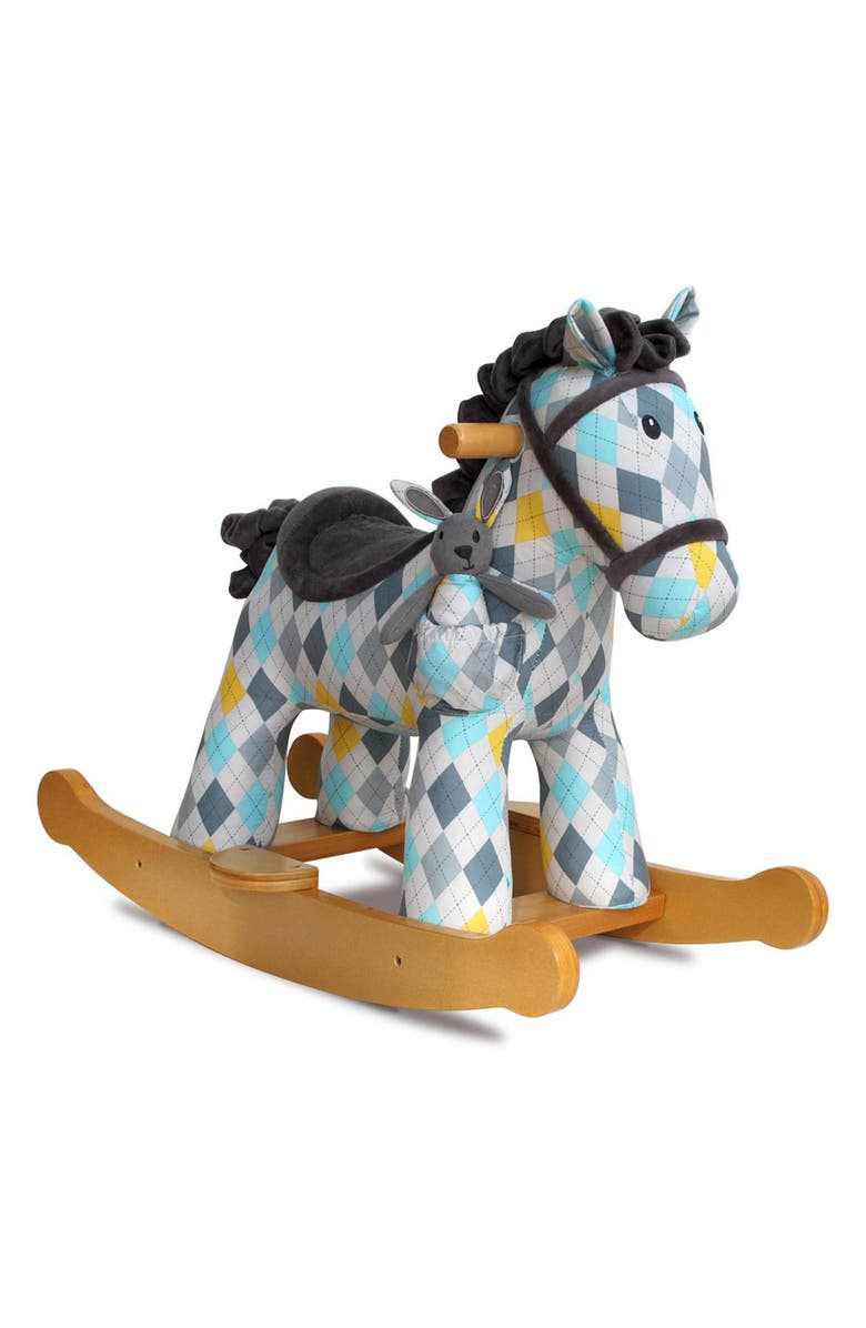 LITTLE BIRD TOLD ME Lewis & Fitz Rocking Horse & Stuffed Animal, Main, color, BLUE PLAID