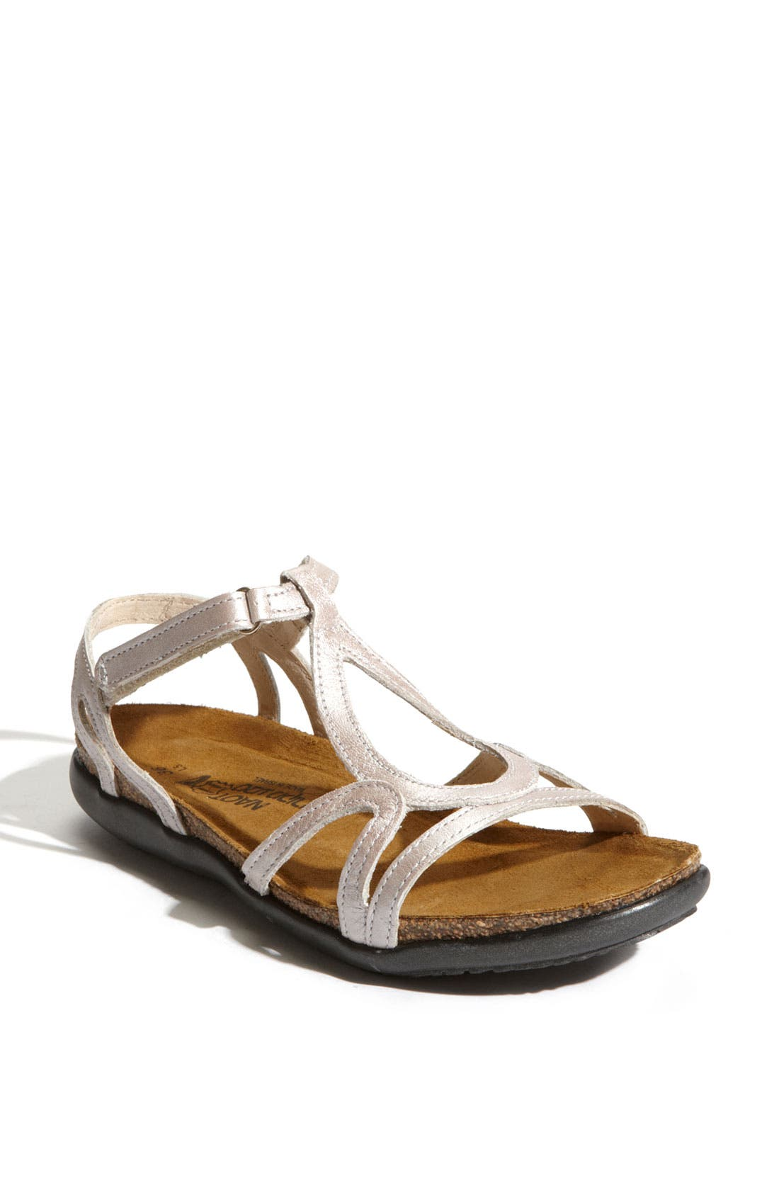 A graceful teardrop modifies a breezy T-strap sandal finished with a slim hook-and-loop strap for easy chic. Style Name: Naot \\\'Dorith\\\' Sandal. Style Number: 383434. Available in stores.