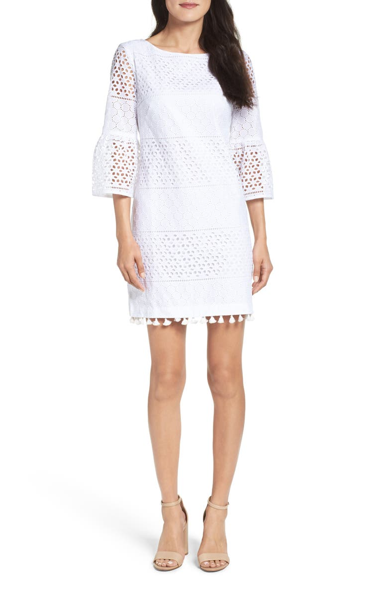 VINCE CAMUTO Eyelet A-Line Dress, Main, color, 901
