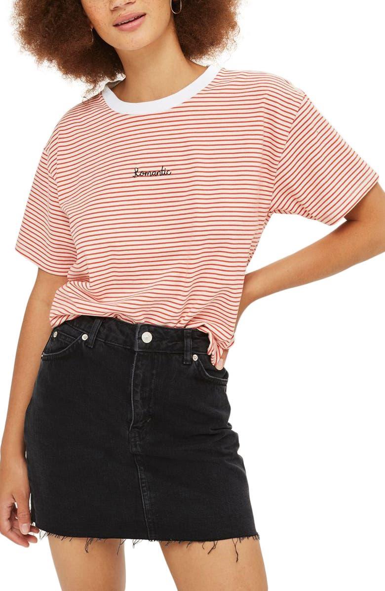 TOPSHOP Frayed Hem Denim Miniskirt, Main, color, 001