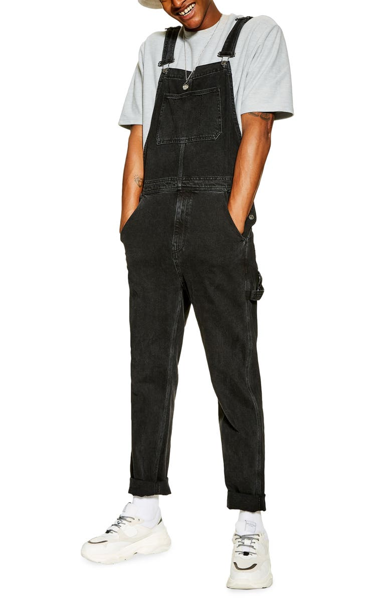 TOPMAN Classic Fit Overalls, Main, color, WASHED BLACK