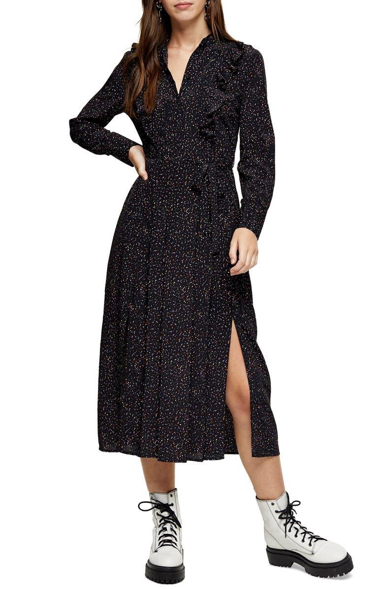 TOPSHOP Ruffle Shirtdress, Main, color, BLACK MULTI