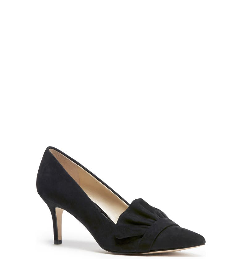 SOLE SOCIETY Darbia Ruffle Pointy Toe Pump, Main, color, BLACK SUEDE