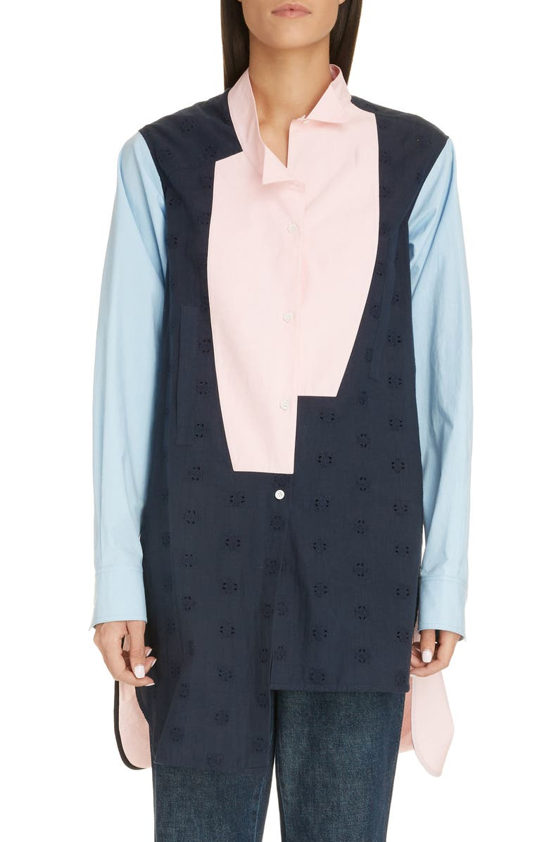 LOEWE Colorblock Cotton Poplin & Broderie Anglaise Shirt, Main, color, BLUE/ PINK