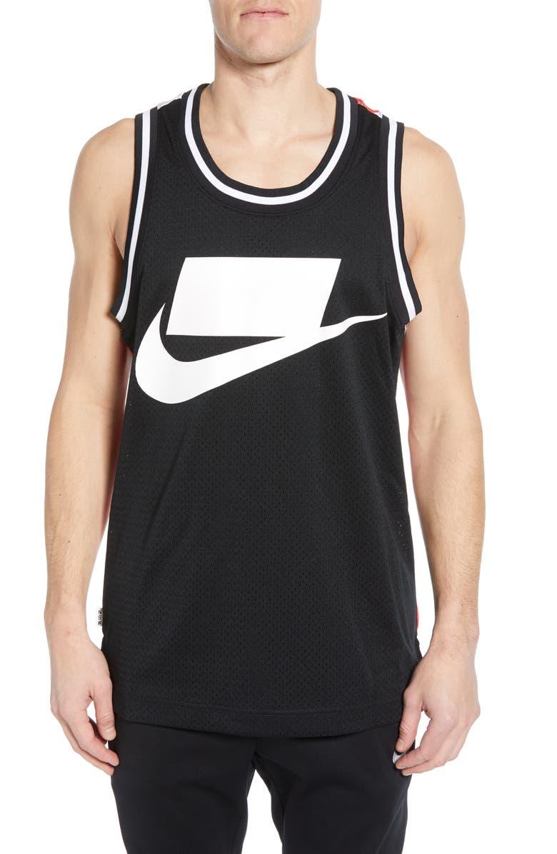 NIKE Sportswear Check Logo Print Mesh Tank, Main, color, BLACK/ BLACK/ WHITE