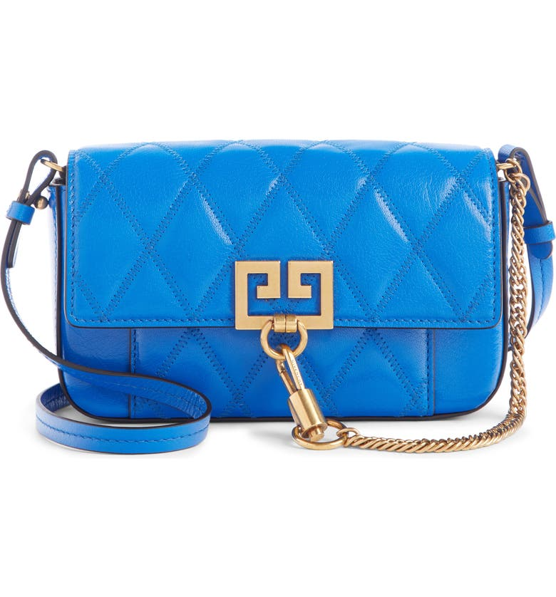 GIVENCHY Mini Pocket Quilted Convertible Leather Bag, Main, color, PERSIAN BLUE
