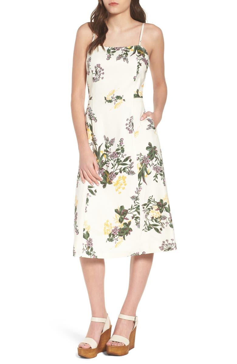 LEITH Floral Print Midi Dress, Main, color, 900