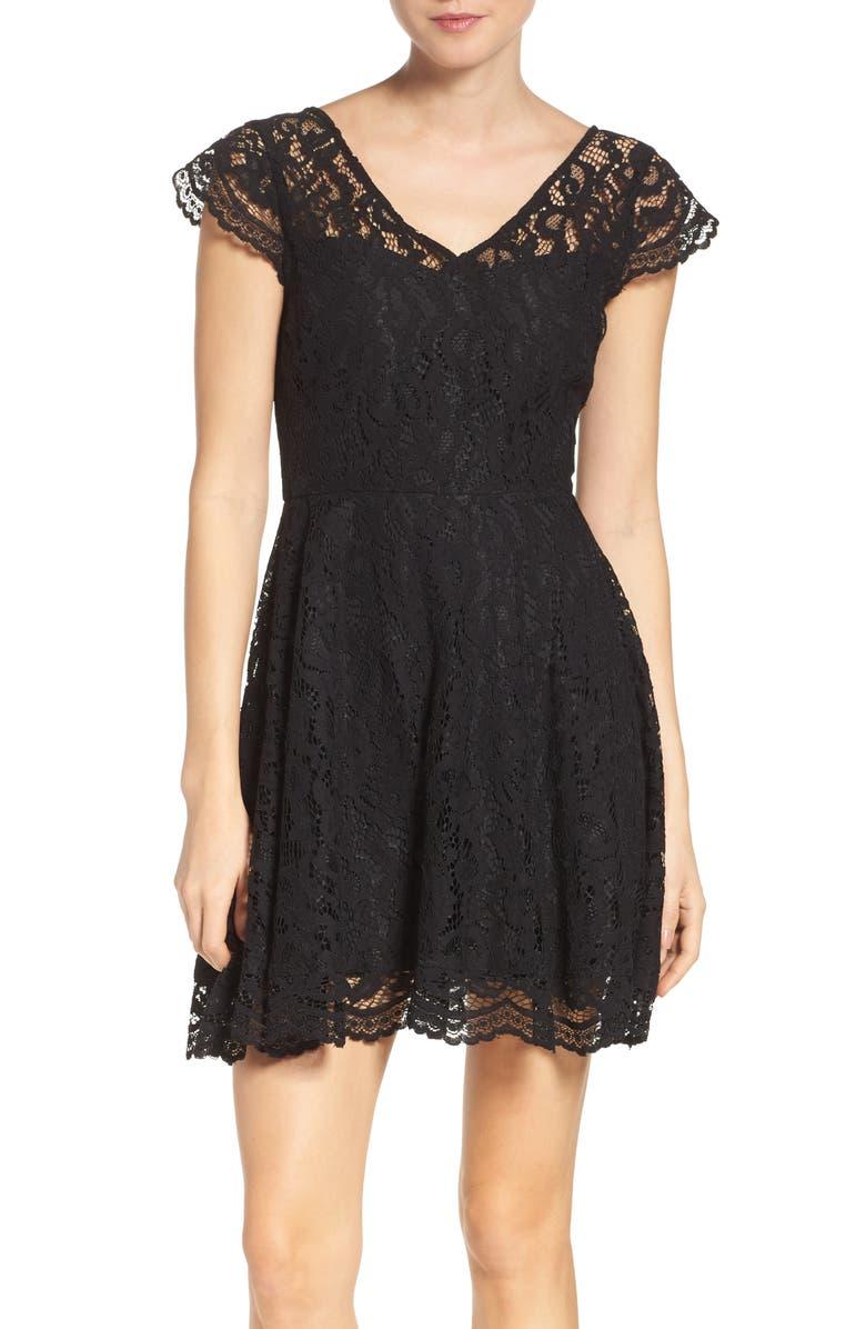 BB DAKOTA 'Reece' Lace Fit & Flare Dress, Main, color, 001