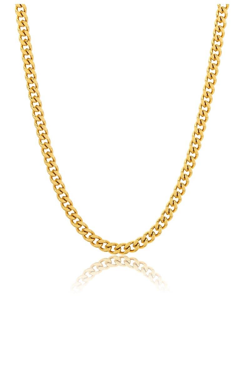 ADORNIA 14K Gold Vermeil 5mm Cuban Link Chain, Main, color, YELLOW