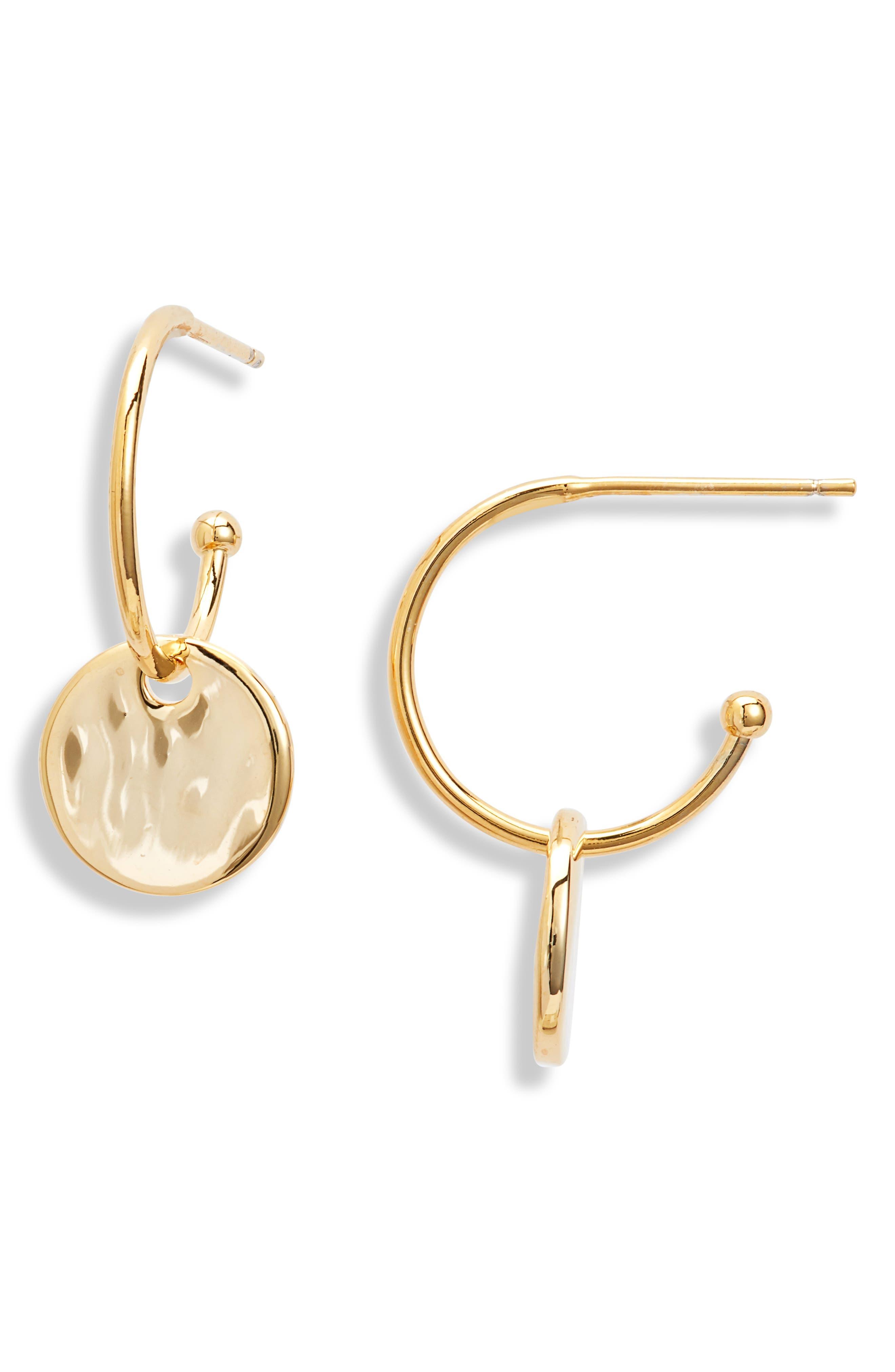 Hammered Disc Drop Hoop Earrings