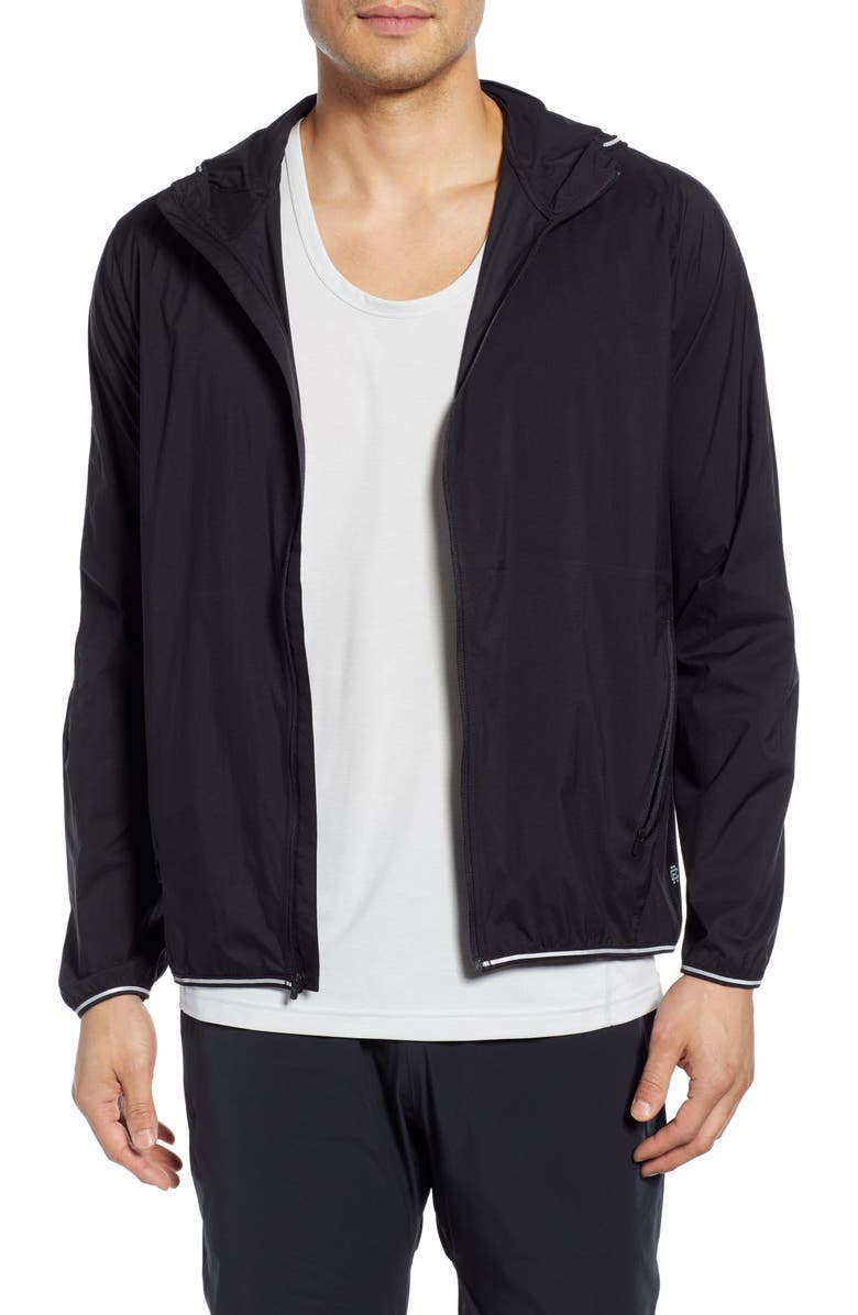 REIGNING CHAMP Water Resistant Hooded Track Jacket, Main, color, BLACK