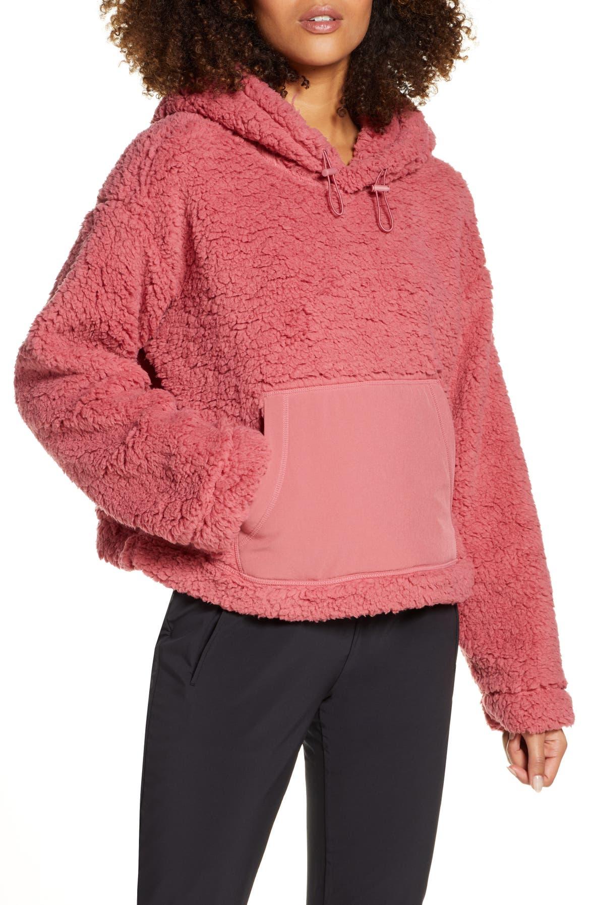 ZELLA Cassie Faux Fur Hoodie, Main, color, PINK MAUVE