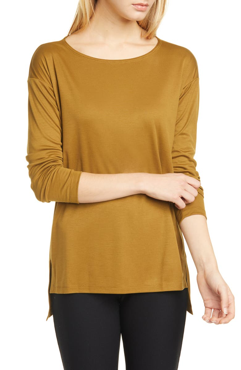 EILEEN FISHER Ballet Neck Long Sleeve Top, Main, color, GOLD LEAF