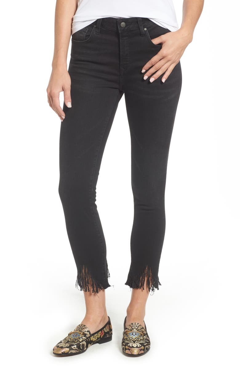 MAVI JEANS Tess Fringe Skinny Crop Jeans, Main, color, 001