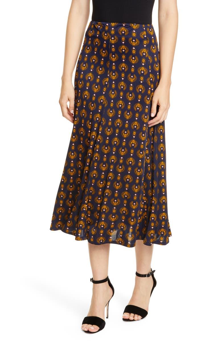 RODEBJER Inec Midi Skirt, Main, color, DARK NAVY