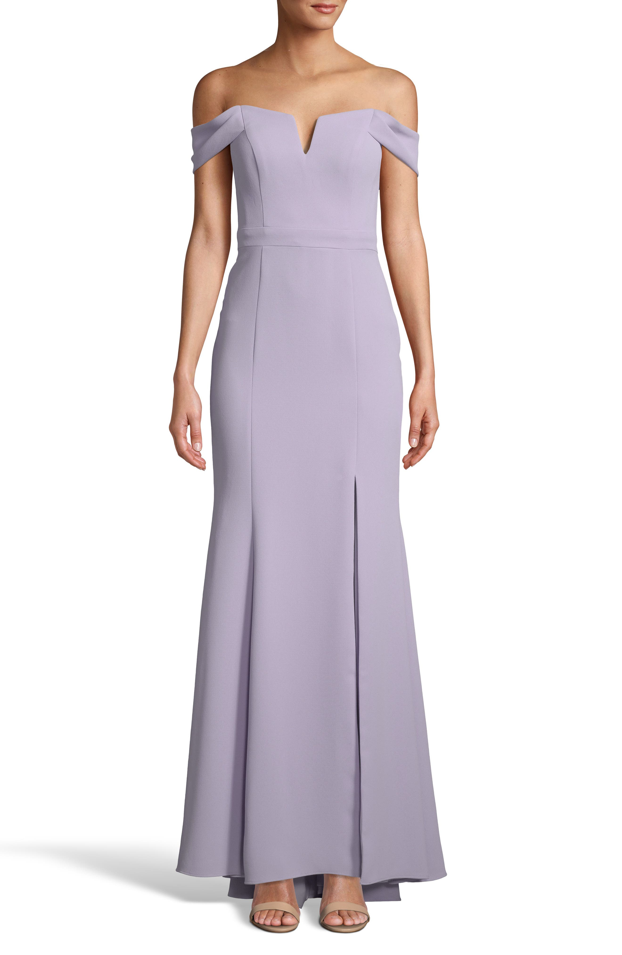 Xscape Off The Shoulder Crepe Evening Dress, Purple