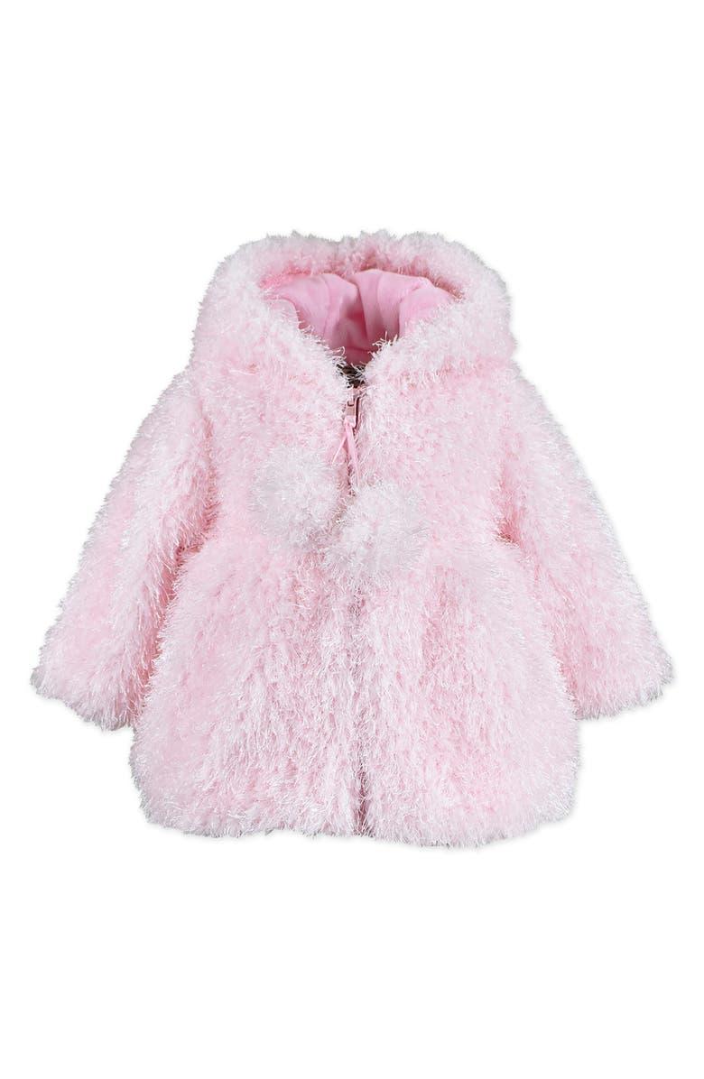 WIDGEON Faux Fur Pompom Coat, Main, color, PINK