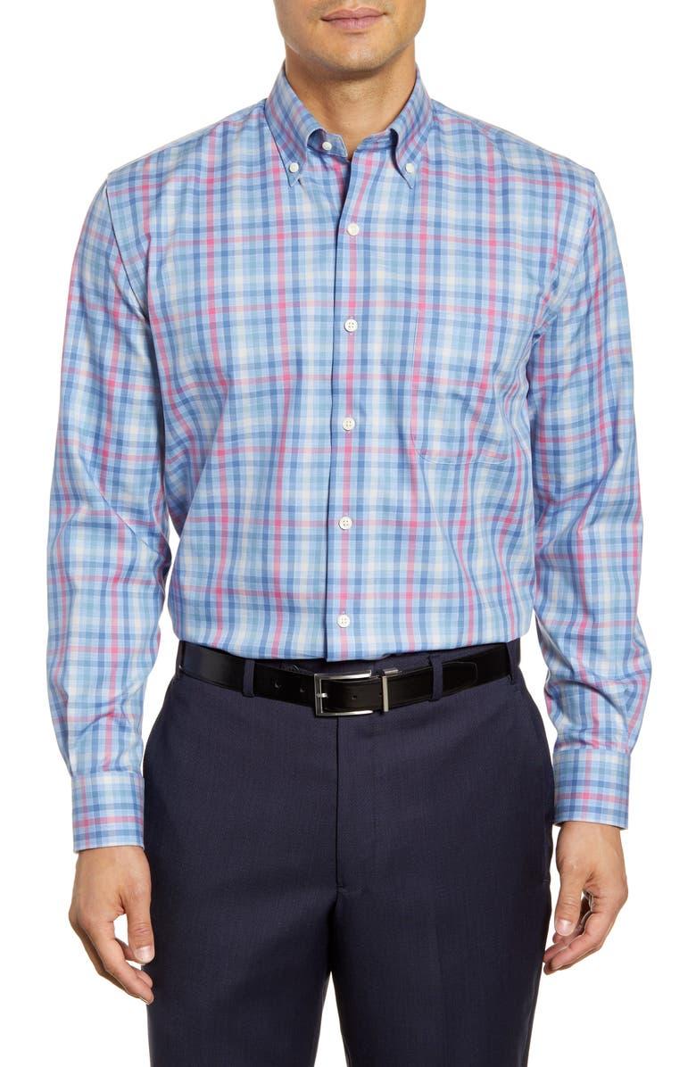 PETER MILLAR Baker Island Regular Fit Check Button-Down Sport Shirt, Main, color, COTTAGE BLUE