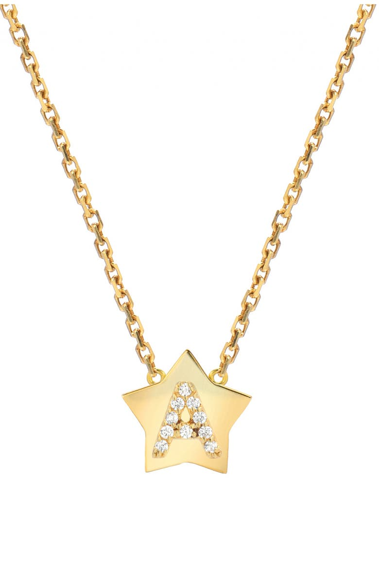 MINI MINI JEWELS Star-Framed Diamond Initial Pendant Necklace, Main, color, YELLOW GOLD-A