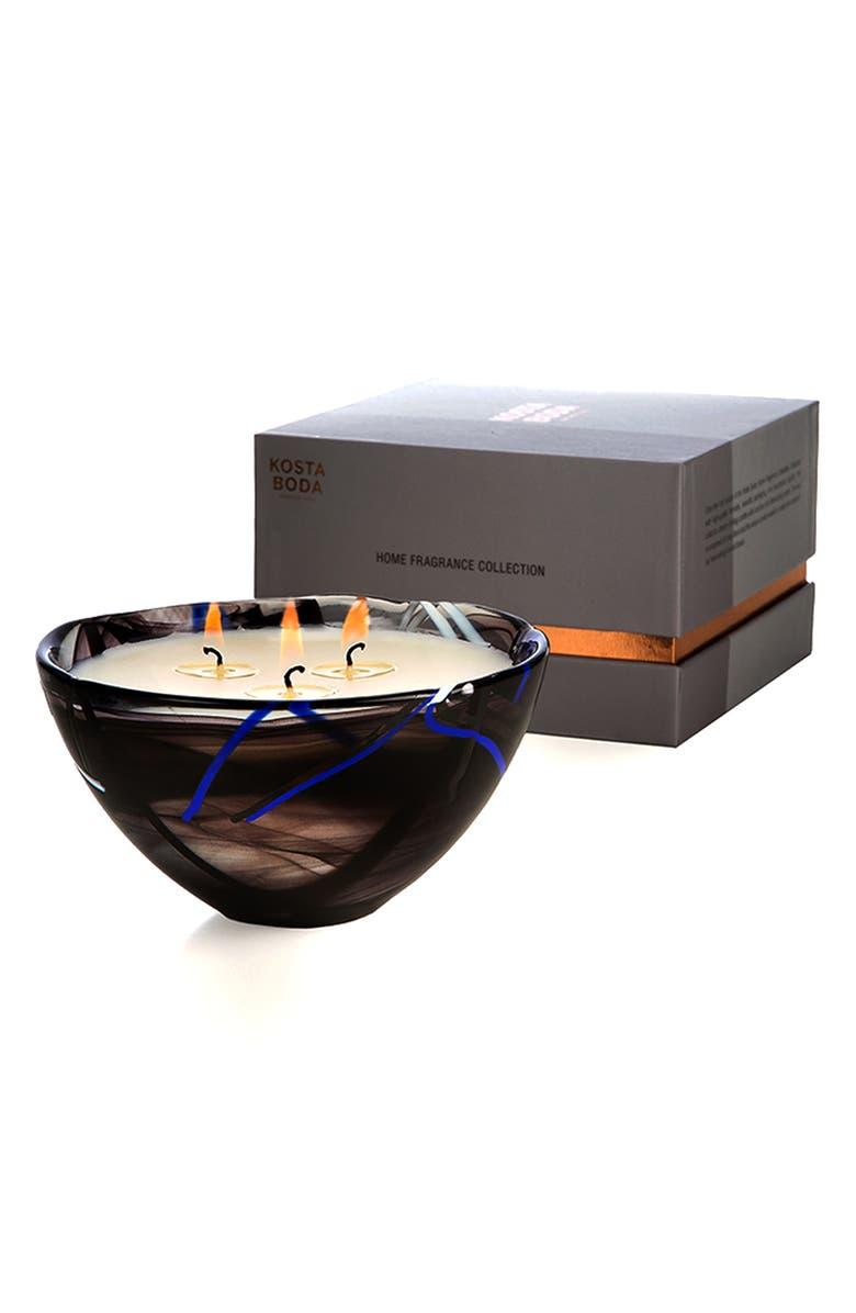KOSTA BODA Three-Wick Candle in Glass Bowl, Main, color, BLACK