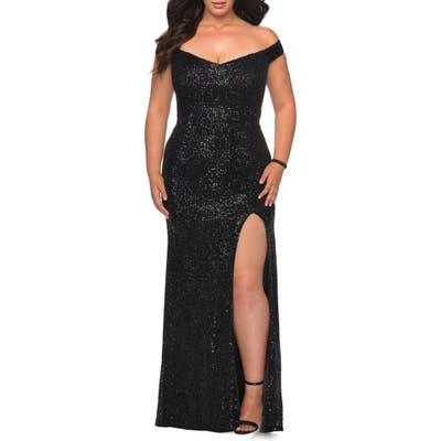 Plus Size La Femme Sequin Off The Shoulder Gown, Black