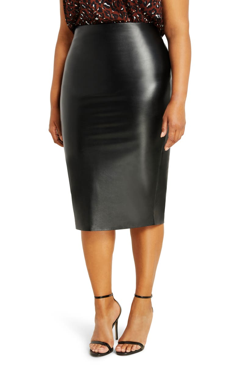 ELOQUII Faux Leather Column Skirt, Main, color, 001