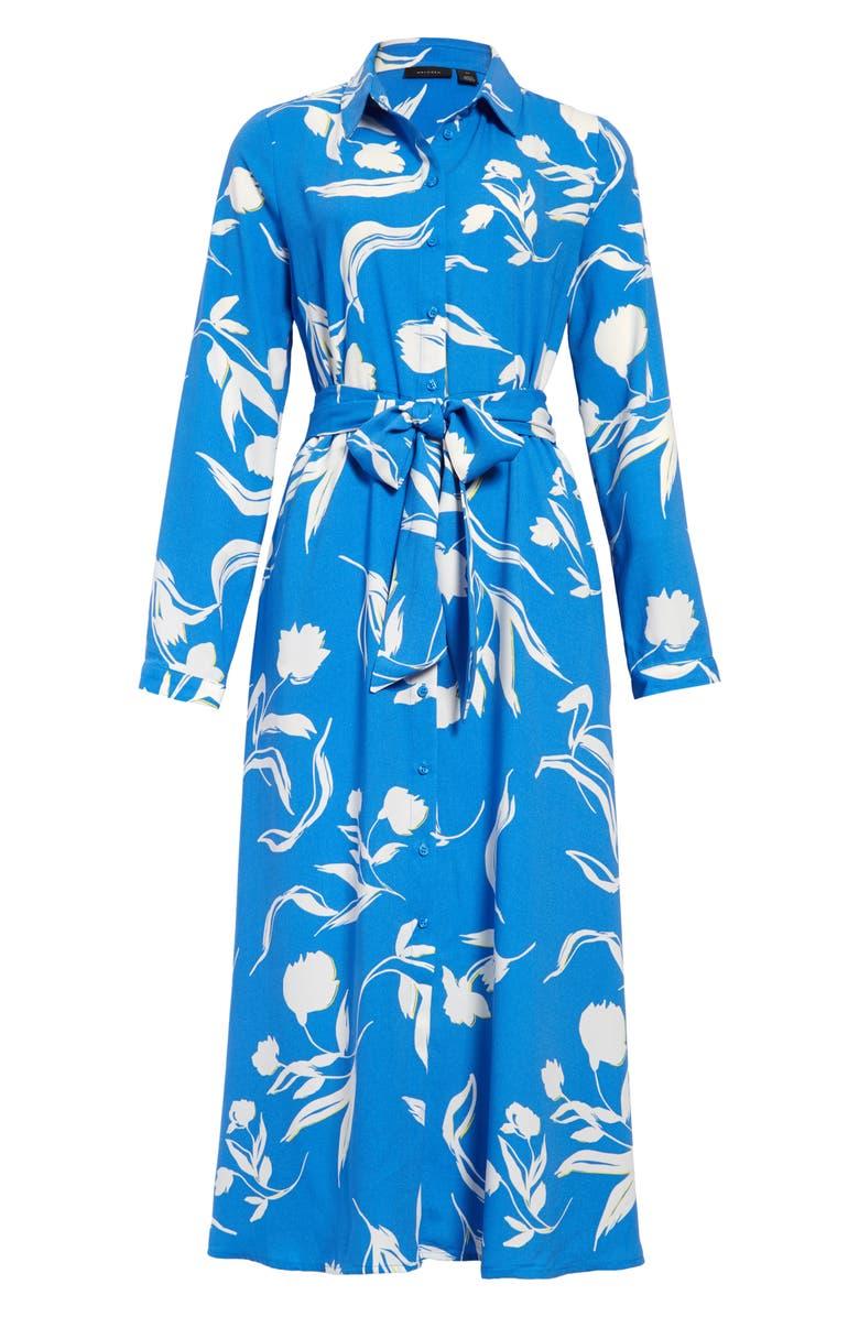 HALOGEN<SUP>®</SUP> Long Sleeve Midi Shirtdress, Main, color, BLUE FLORAL