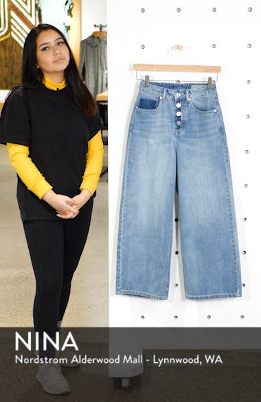 Kathy High Waist Wide Leg Crop Nonstretch Jeans, sales video thumbnail