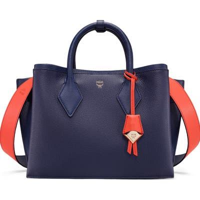 Mcm Medium Neo Milla Park Avenue Leather Tote - Blue