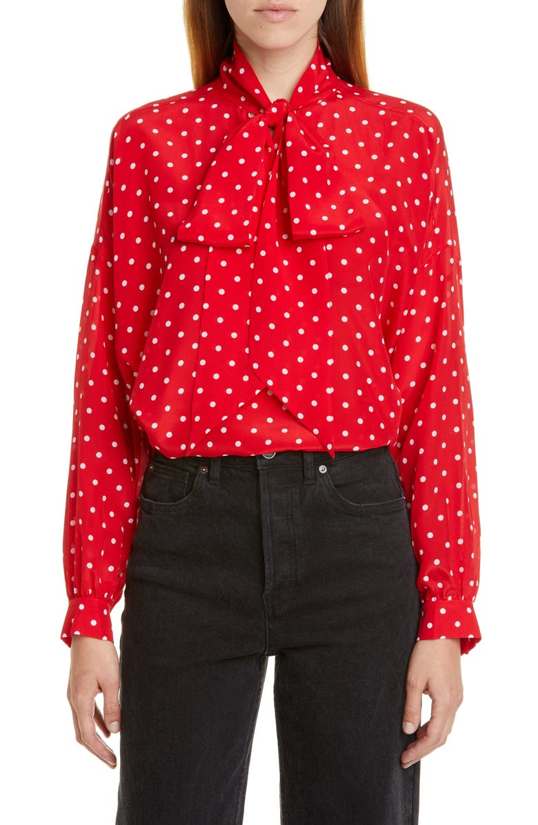 BALENCIAGA Polka Dot Tie Neck Silk Blouse, Main, color, RED/ WHITE