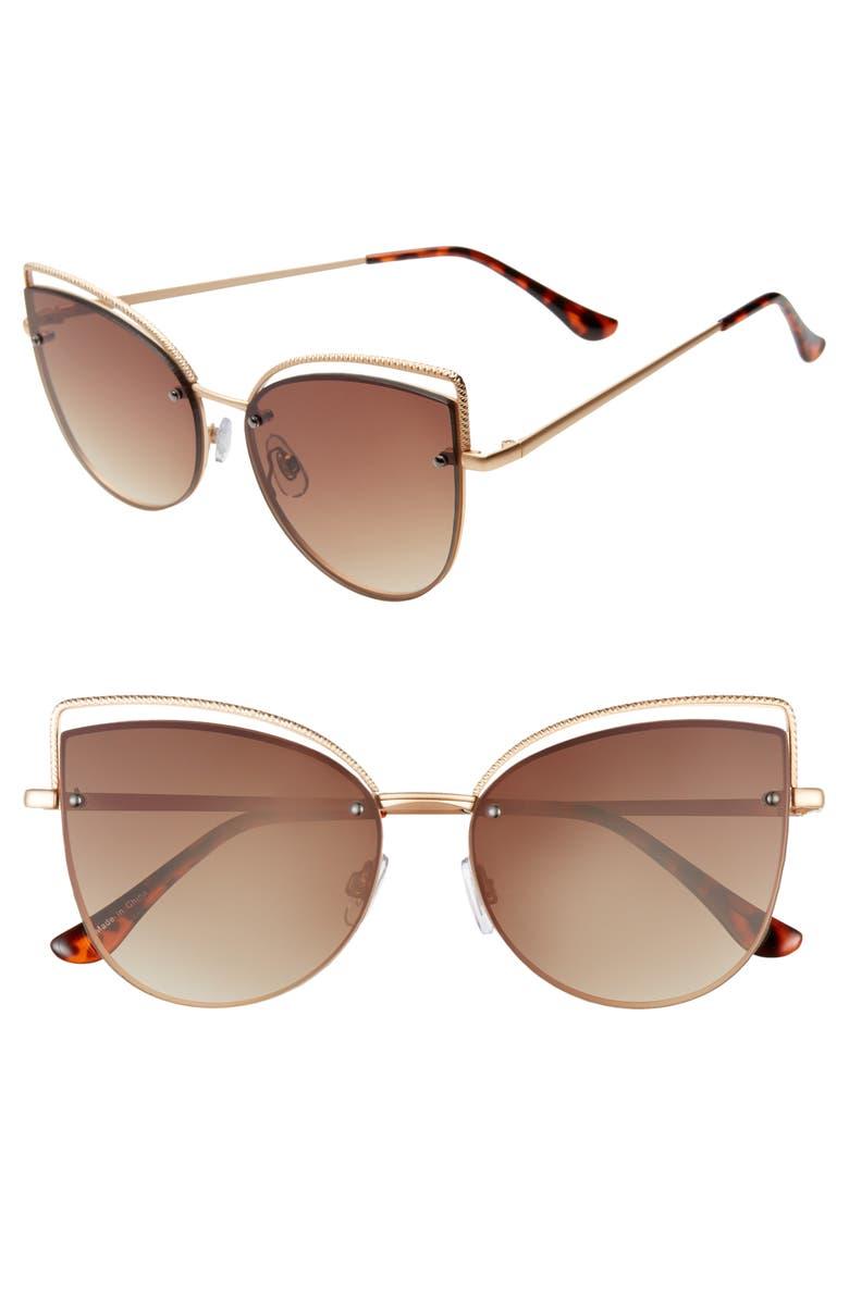 BP. 55mm Vented Cat Eye Sunglasses, Main, color, TORT
