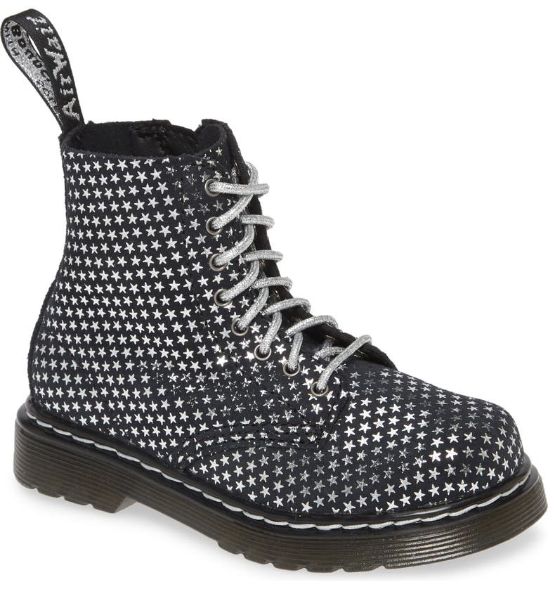 DR. MARTENS 1460 Metallic Boot, Main, color, BLACK/ SILVER