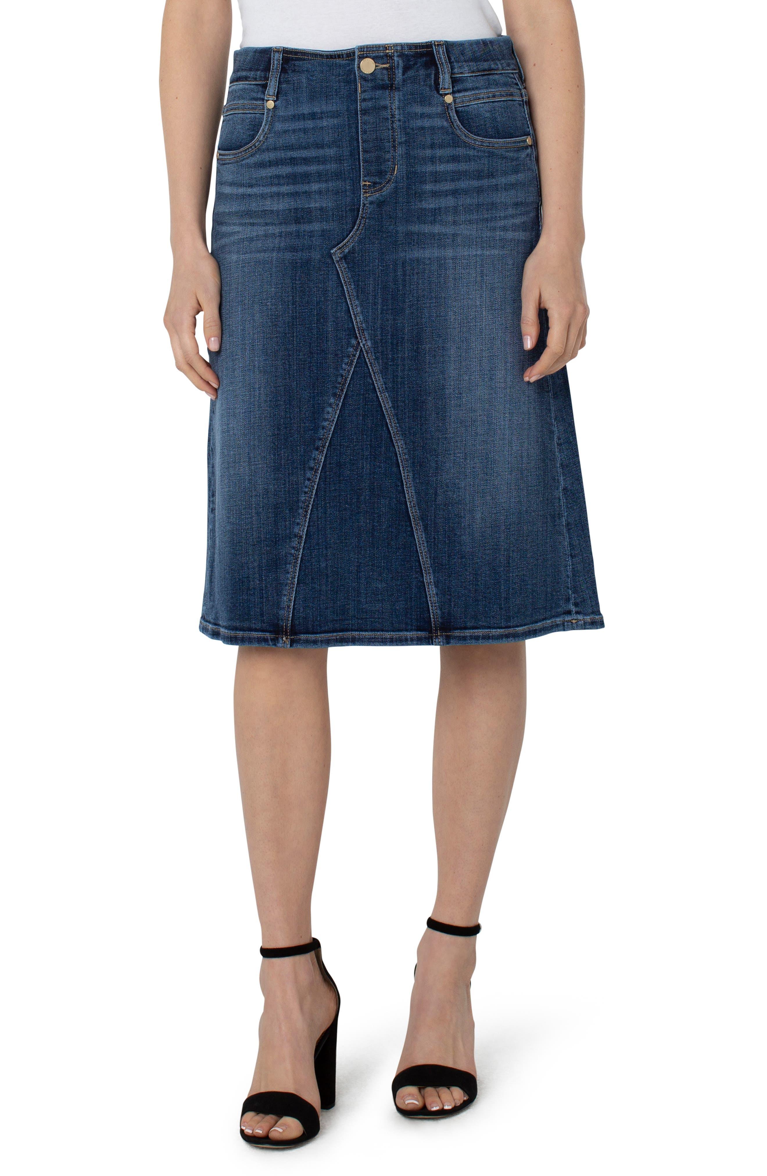 Women's Liverpool Gia Glider Denim Midi Skirt