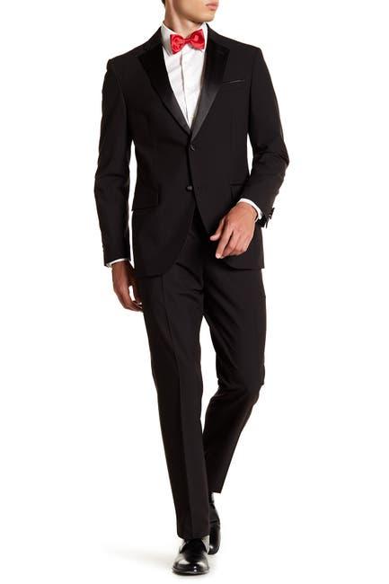 Image of Nordstrom Rack Black Two Button Notch Lapel Trim Fit Tuxedo
