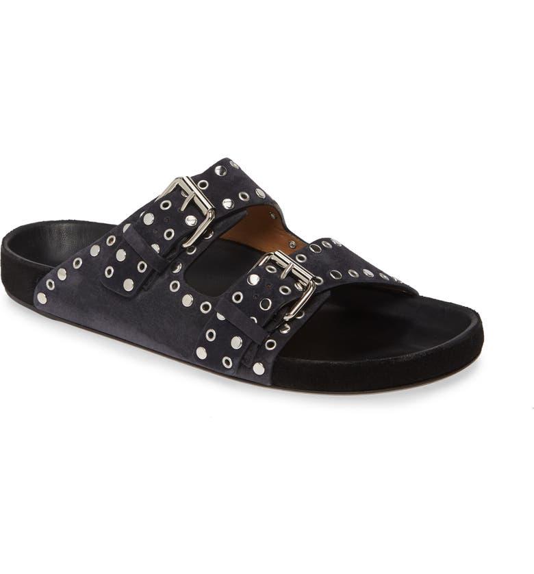 ISABEL MARANT Lennyo Double Strap Slide Sandal, Main, color, FADED BLACK SUEDE
