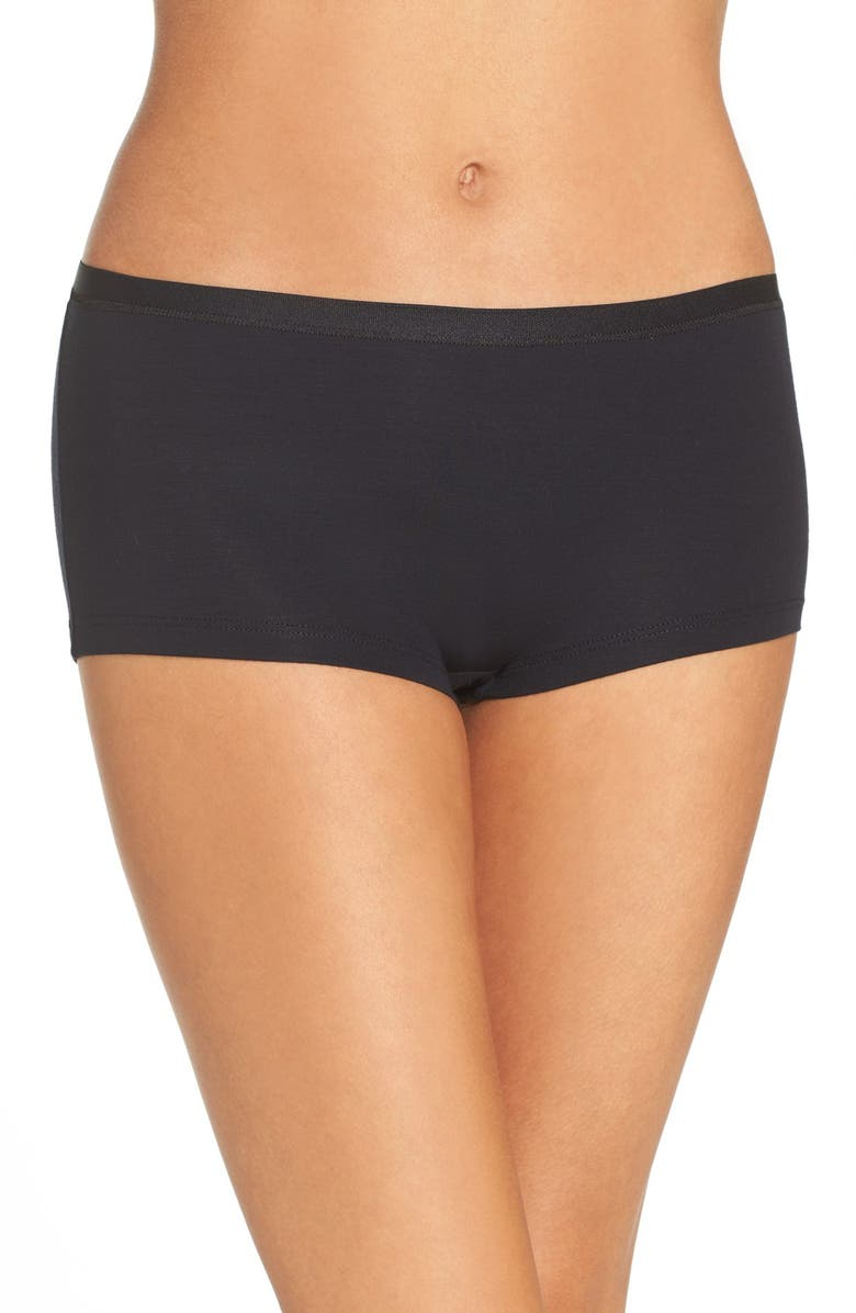 HANRO Soft Touch Stretch Modal Boyshorts, Main, color, BLACK