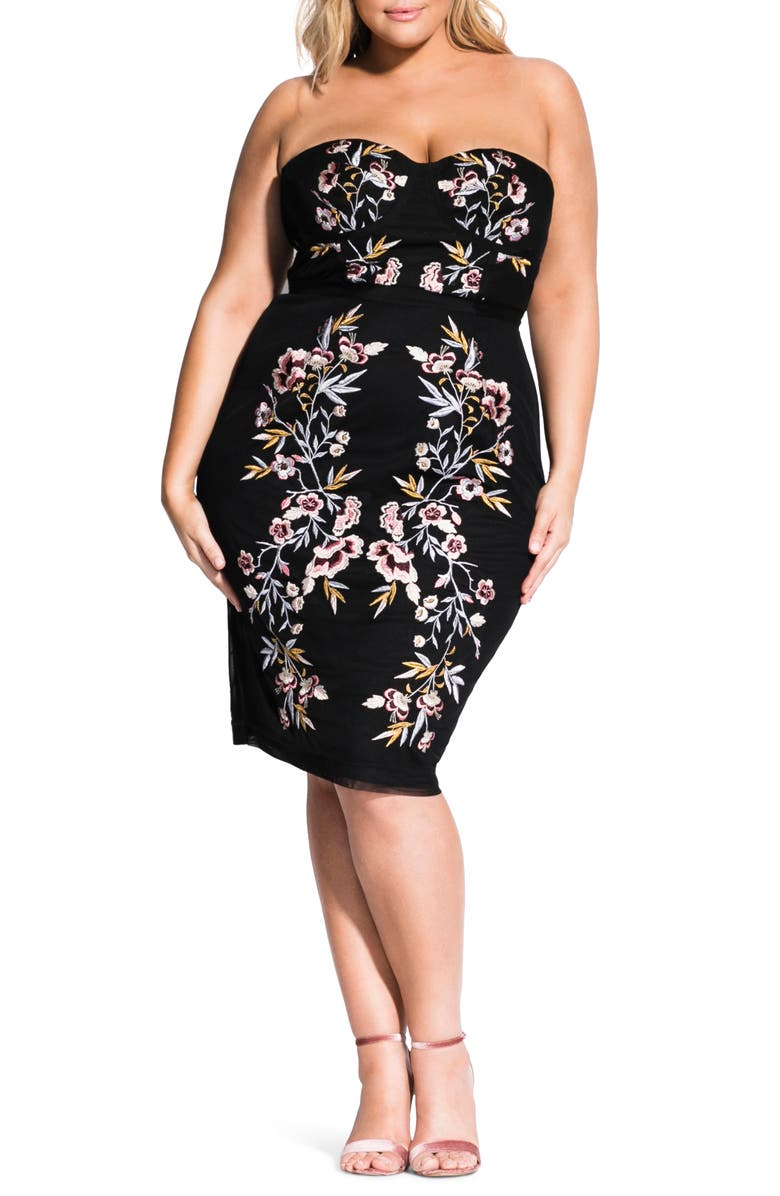 CITY CHIC Embroidered Mesh Strapless Dress, Main, color, BLACK