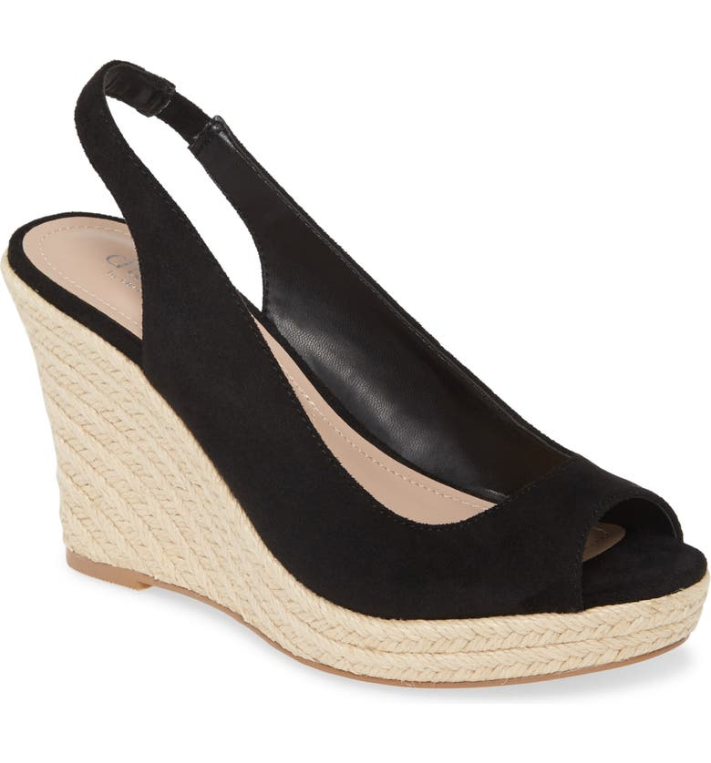 CHARLES BY CHARLES DAVID Laila Espadrille Slingback Wedge (Women0, Main, color, BLACK